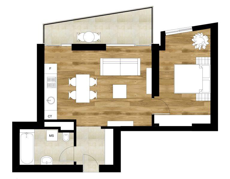 plan apartament stil scandinav