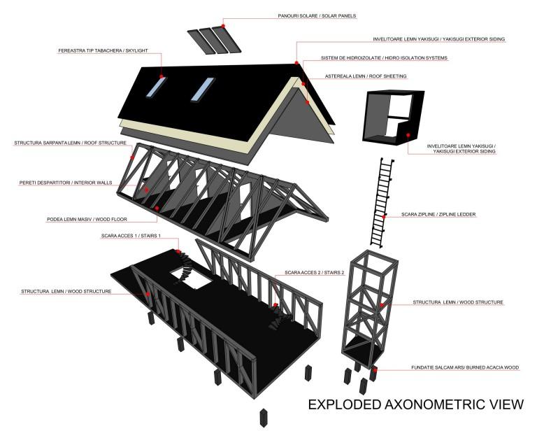 axonometrie explodata concurs arhitectura sky hill dealul cerului